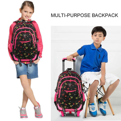 Vbiger Stylish Wheeled Backpack Simple Shoulder Bag for Primary School Students 6 Wheels - Backpacks