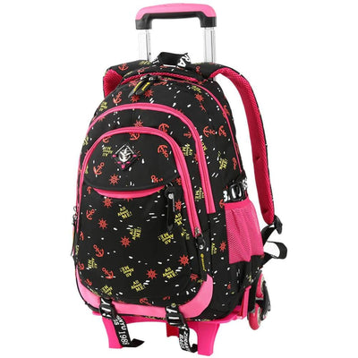 Vbiger Stylish Wheeled Backpack Simple Shoulder Bag for Primary School Students 6 Wheels - Black - Backpacks