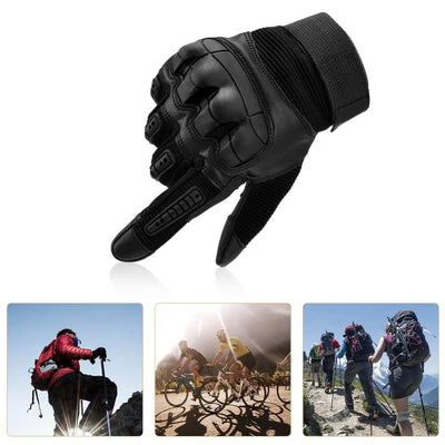 Vbiger Tactical Gloves Full Finger Outdoor Gloves Motorcycle Gloves with Rubber Knuckle Impact-resistant and Wear-proof - Gloves