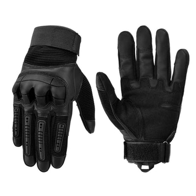 Vbiger Tactical Gloves Full Finger Outdoor Gloves Motorcycle Gloves with Rubber Knuckle Impact-resistant and Wear-proof - L - Gloves