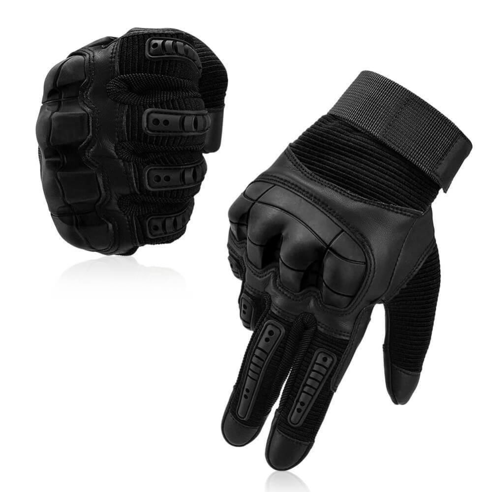 Vbiger Tactical Gloves Full Finger Outdoor Gloves Motorcycle Gloves with Rubber Knuckle, Impact-resistant and Wear-proof