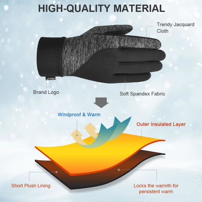 Vbiger Thickened Winter Touch Screen Gloves with Anti-slip Silicone and Stretchy Cuff Black - Gloves