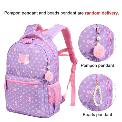 Vbiger Trendy Printing School Bag Casual Outdoor Daypack for Primary School Students Exquisite Printing and Pompon Decor - Backpacks