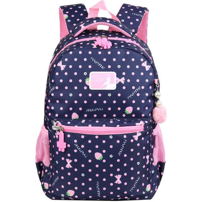 Vbiger Trendy Printing School Bag Casual Outdoor Daypack for Primary School Students Exquisite Printing and Pompon Decor - Dark Blue -