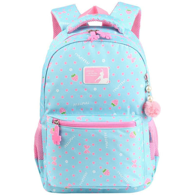 Vbiger Trendy Printing School Bag Casual Outdoor Daypack for Primary School Students Exquisite Printing and Pompon Decor - Light Blue -