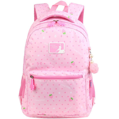 Vbiger Trendy Printing School Bag Casual Outdoor Daypack for Primary School Students Exquisite Printing and Pompon Decor - Pink - Backpacks