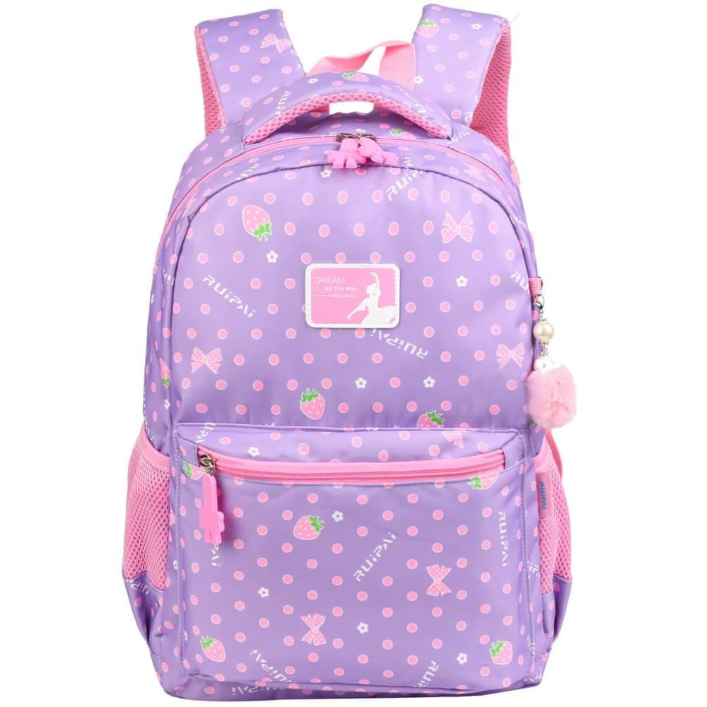 Vbiger Trendy Printing School Bag Casual Outdoor Daypack for Primary School Students Exquisite Printing and Pompon Decor - Purple -