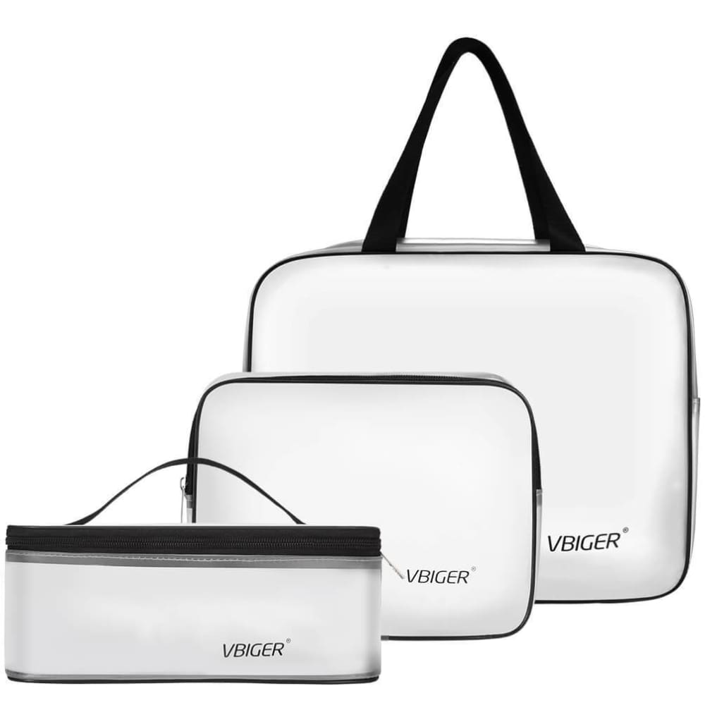 Vbiger TSA Approved Toiletry Bag Set Translucent Cosmetic Bag Packing Cube Set of 3 - Bag