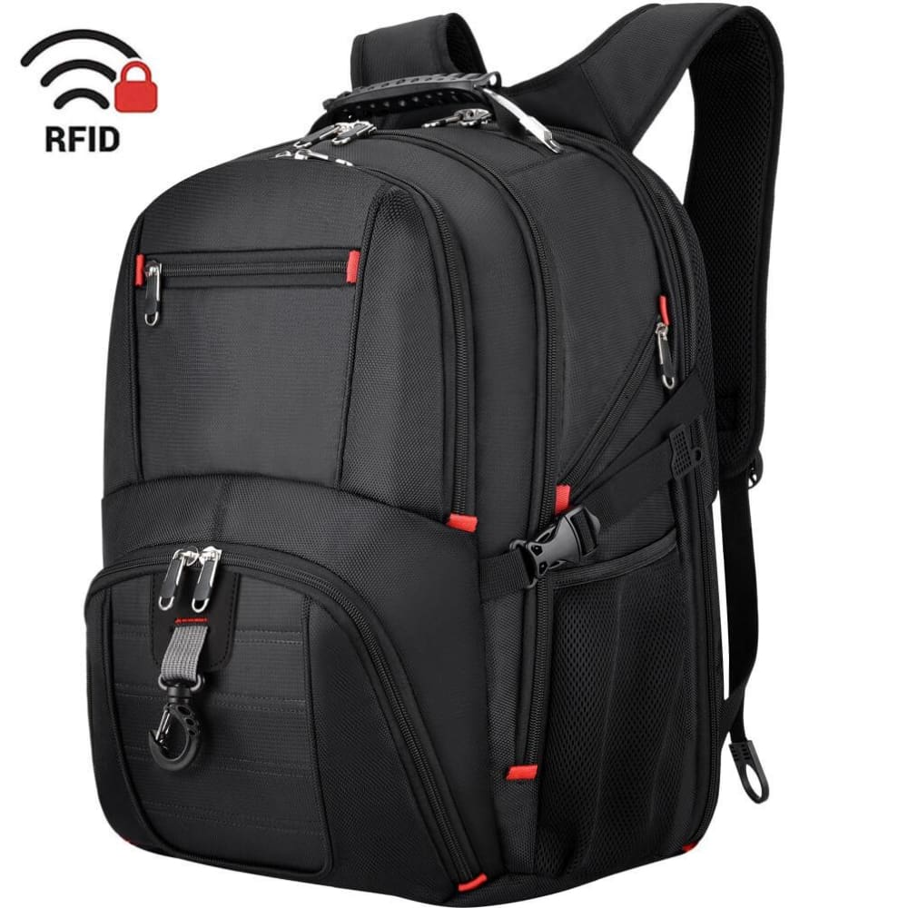 Vbiger Unisex Business Daypack with USB Charging Port and Earphone Hole Fits 17.3 Laptop - Backpacks