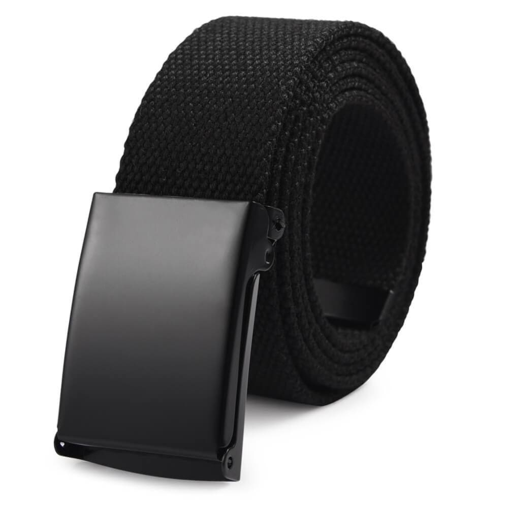 Vbiger Unisex Canvas Belt Solid Color Belt Fashionable Waist Band for Both Men and Women Black - Belt