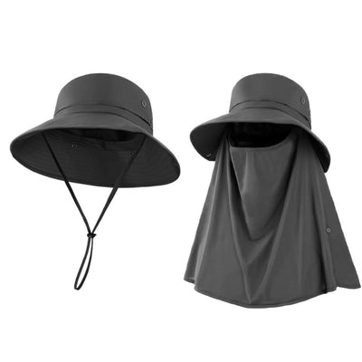 Vbiger Unisex Sun Hat Breathable Bucket Hat Quick-dry Outdoor Hats Foldable Fishing Cap with Detachable Flaps - Hats
