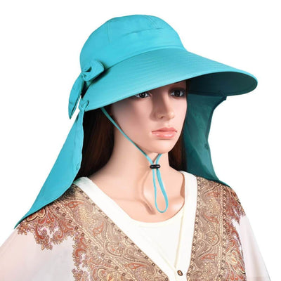 Vbiger UPF50+ Beach Sunhat Foldable Sun Hat Adjustable Sunproof Hat Wide Brim Visor Hat with Removable Neck and Face Flap - Hats