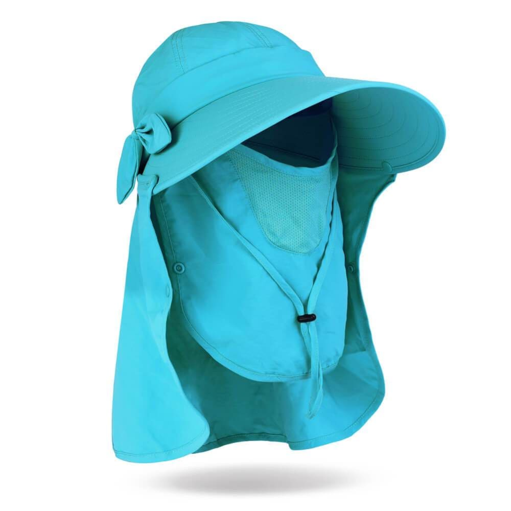 Vbiger UPF50+ Beach Sunhat Foldable Sun Hat Adjustable Sunproof Hat Wide Brim Visor Hat with Removable Neck and Face Flap - Blue - Hats