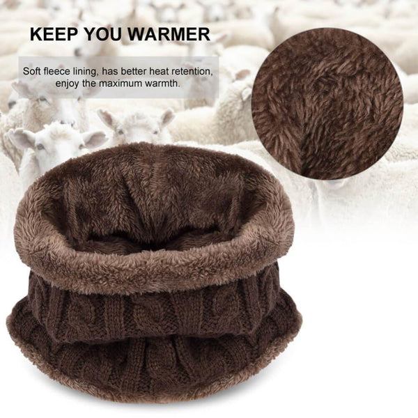 Vbiger Warm Knitted Hat and Circle Scarf with Fleece Lining 2 Pieces - Hats