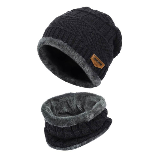 Vbiger Warm Knitted Hat and Circle Scarf with Fleece Lining 2 Pieces - Black - Hats