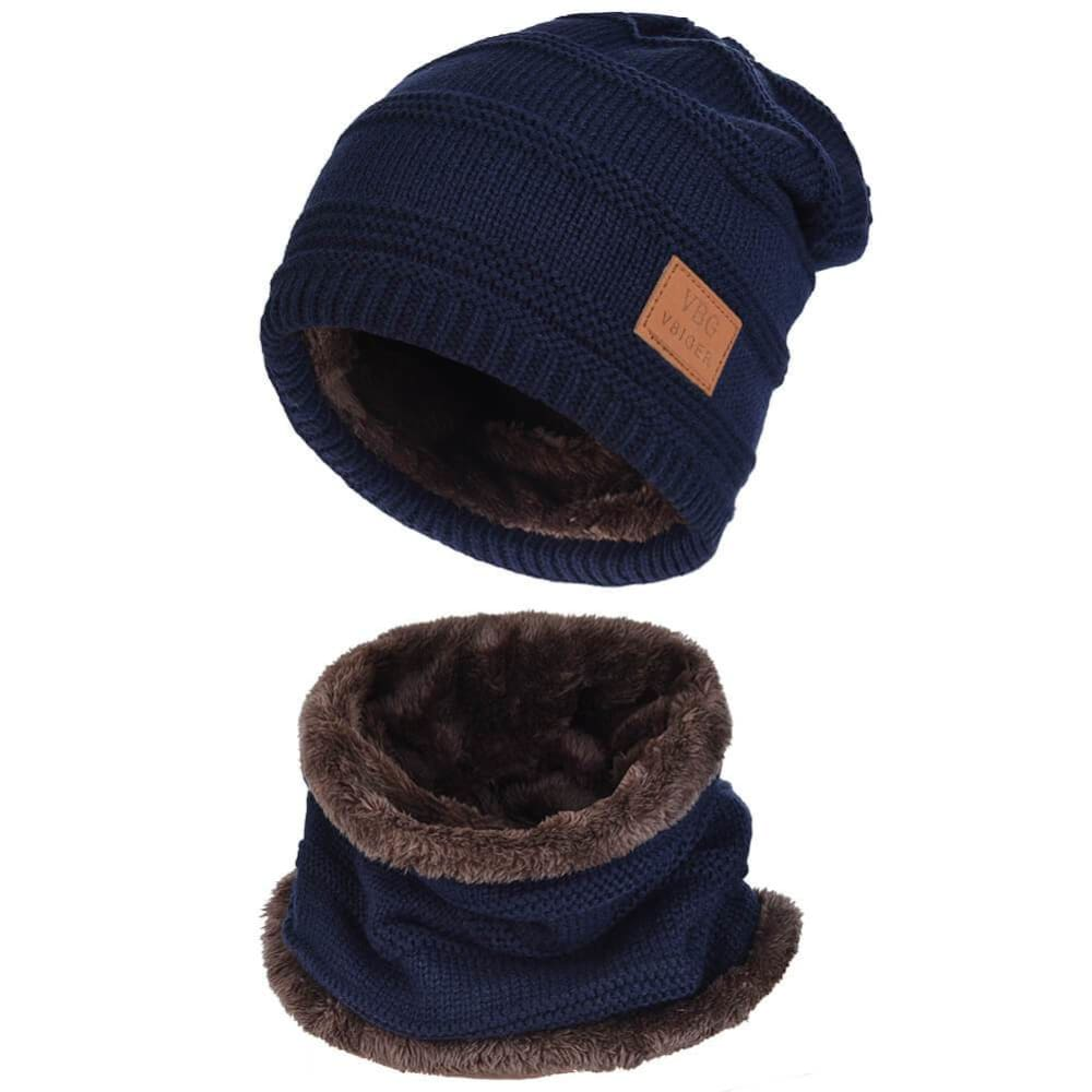Vbiger Warm Knitted Hat and Circle Scarf with Fleece Lining 2 Pieces - Blue - Hats