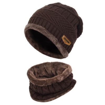 Vbiger Warm Knitted Hat and Circle Scarf with Fleece Lining 2 Pieces - Brown - Hats