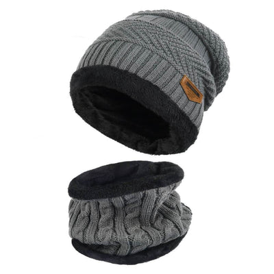 Vbiger Warm Knitted Hat and Circle Scarf with Fleece Lining 2 Pieces - Grey - Hats