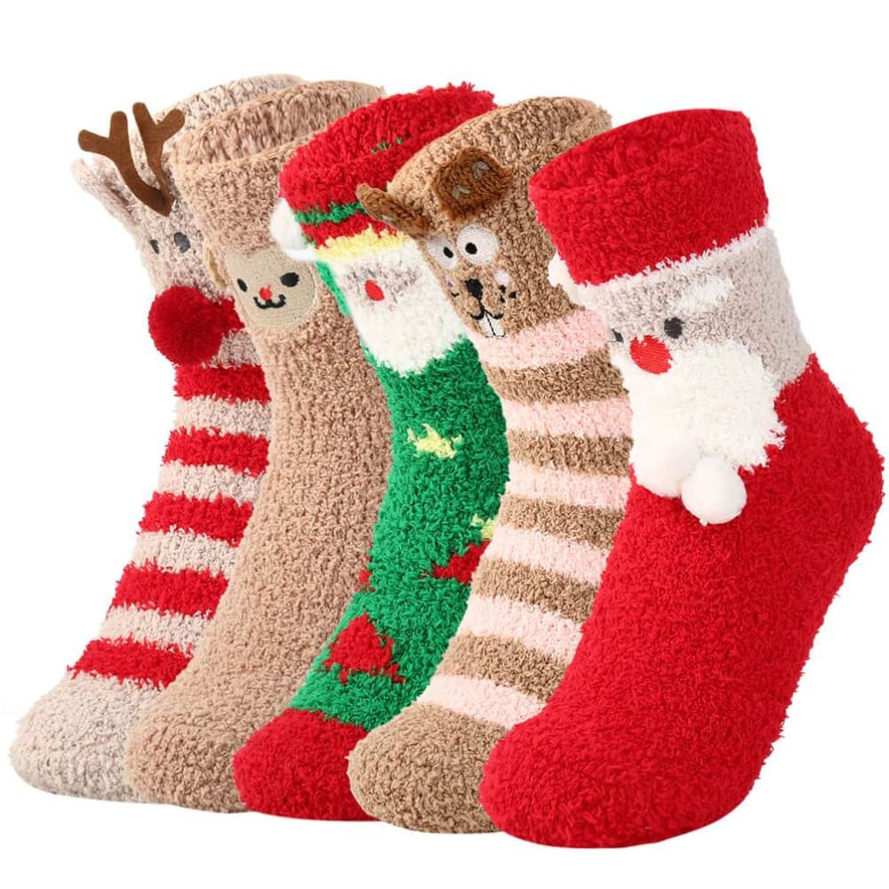 Vbiger Warm Winter Socks Coral Fleece Crew Socks Cute Cartoon Pattern Socks Comfortable Cold Weather Socks Ultra-soft Sleep Socks for Women