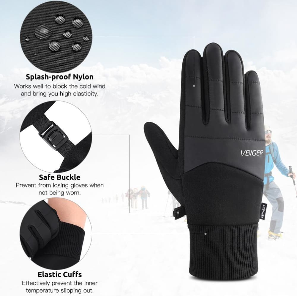 Vbiger Winter Gloves Touch Screen Warm Cold Weather Gloves Mens Black New