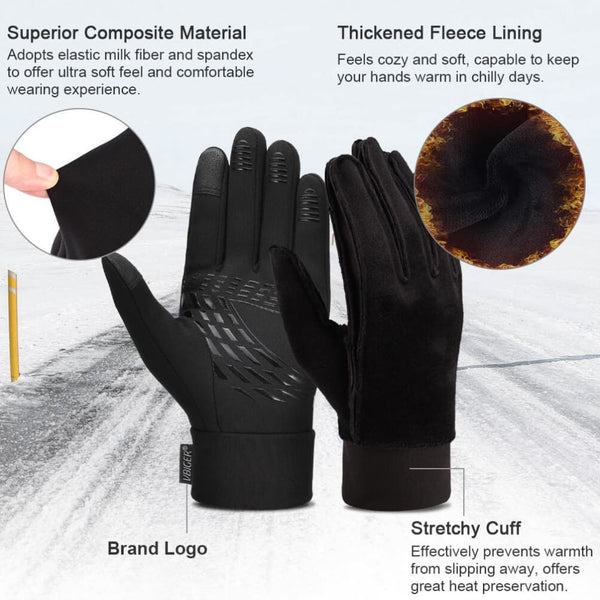Vbiger Winter Gloves Touch Screen Gloves Cold Weather Gloves with Anti-slip Palm and Thickened Fleece Lining - Gloves