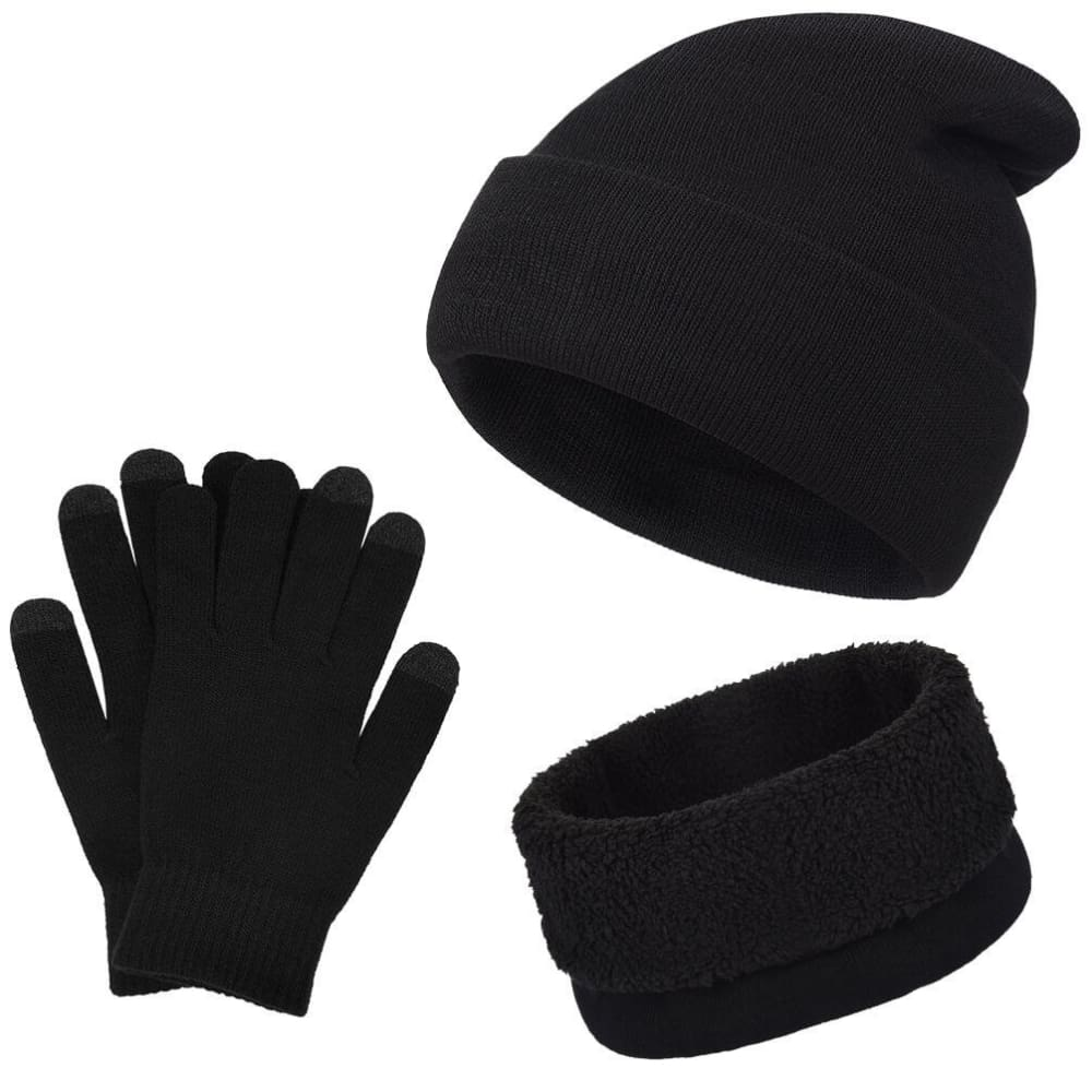 Vbiger Winter Knitted Set Knitted Hat Scarf Gloves for Men and Women, Black, 3 Pieces