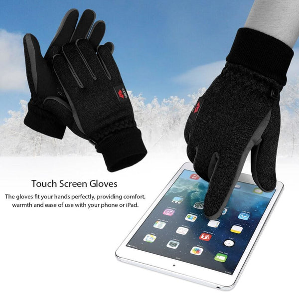 Vbiger Winter Touch Screen Knitted Gloves Winter Warm Gloves Thick Warm Mittens Sports Gloves for Men and Women Black - Gloves