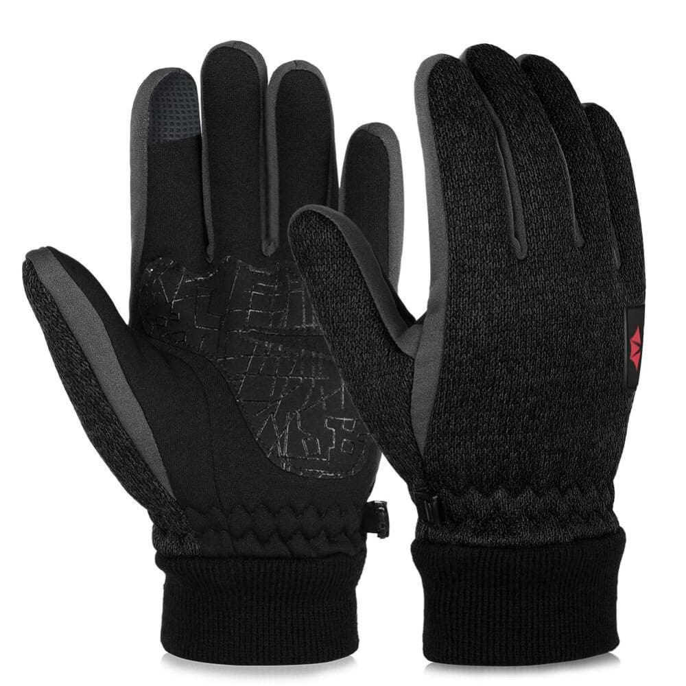 Vbiger Winter Touch Screen Knitted Gloves Winter Warm Gloves Thick Warm Mittens Sports Gloves for Men and Women, Black