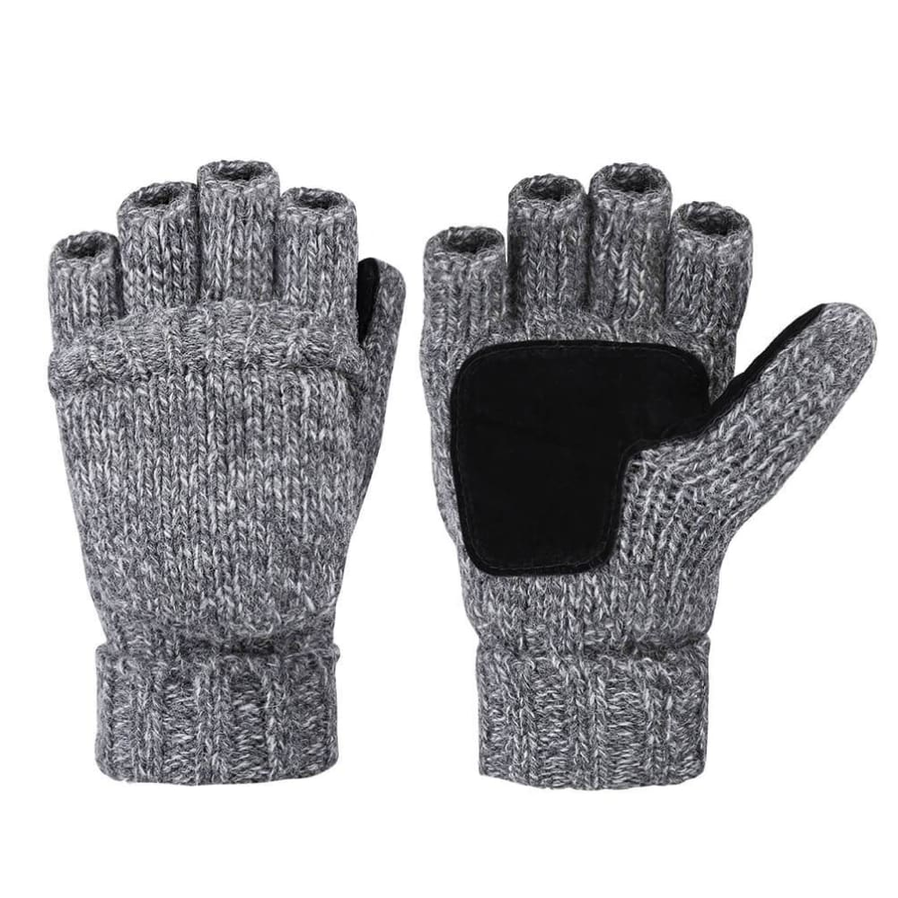 Vbiger Winter Wool Flip Top Gloves Flocking Warm Knitted Gloves for Men and Women