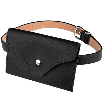 Vbiger Women 2-in-1 Waist Belt Dual-use PU Leather Waist Strap Chic 2-in-1 Pin Buckle Belt Trendy 2 Pieces Waistband and Fanny Pack Black -