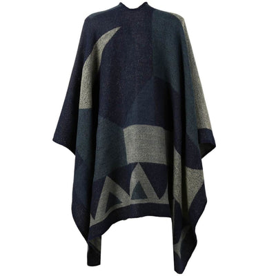 Vbiger Women Color Block Shawl Wrap Open Front Poncho Cape Oversized Winter Blanket Reversible Scarf Thick Cardigan Coat - Scarf