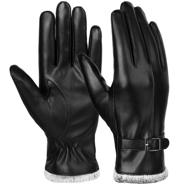 Vbiger Women PU Leather Warm Winter Gloves Soft Touch Screen Gloves - M - Gloves