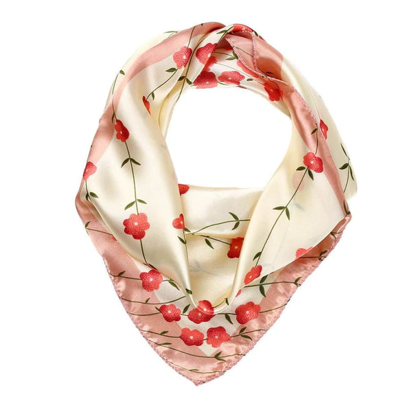 Vbiger Women Satin Scarf Fashionable Square Scarf Decorative Shawl Wrap Flower Printing Pattern Set of 12 - Scarf