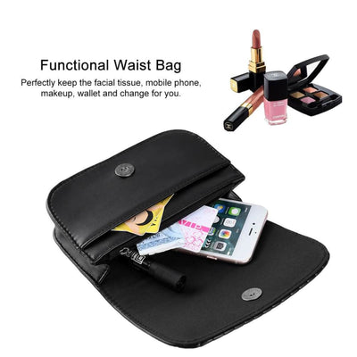 Vbiger Women Waist Pack PU Leather Waist Bag Casual Fanny Pack with Adjustable Strap and Stripe Pattern Black - Bag