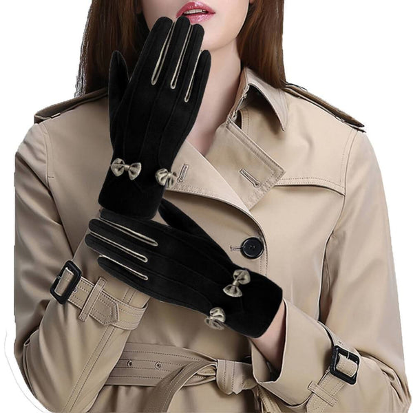 Vbiger Women Winter Warm Gloves Touch Screen Gloves Casual Gloves with Lovely Bowknot Black - Gloves