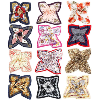 Vbiger Womens Silk Square Scarves Bandana Scarf 50x50cm - 12 Mixed Designs - Scarf