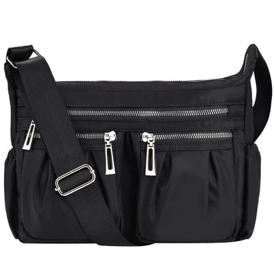Women Casual Multi Pockets Waterproof Shoulder Bag - Black - Bag