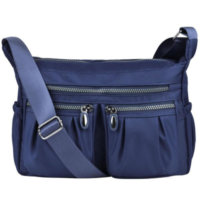 Women Casual Multi Pockets Waterproof Shoulder Bag - Dark Blue - Bag