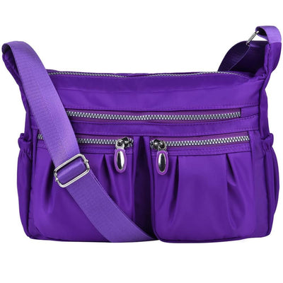 Women Casual Multi Pockets Waterproof Shoulder Bag - Purple - Bag