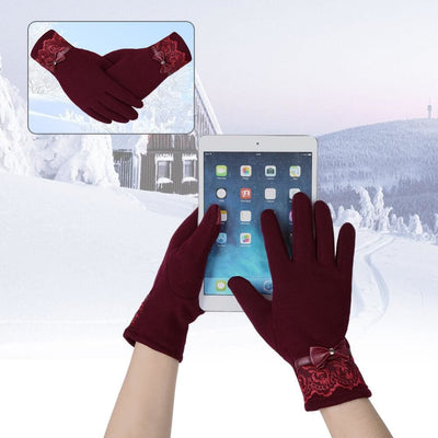 Womens Fashionable Flocking Touchscreen Warmer Lace Gloves - Gloves