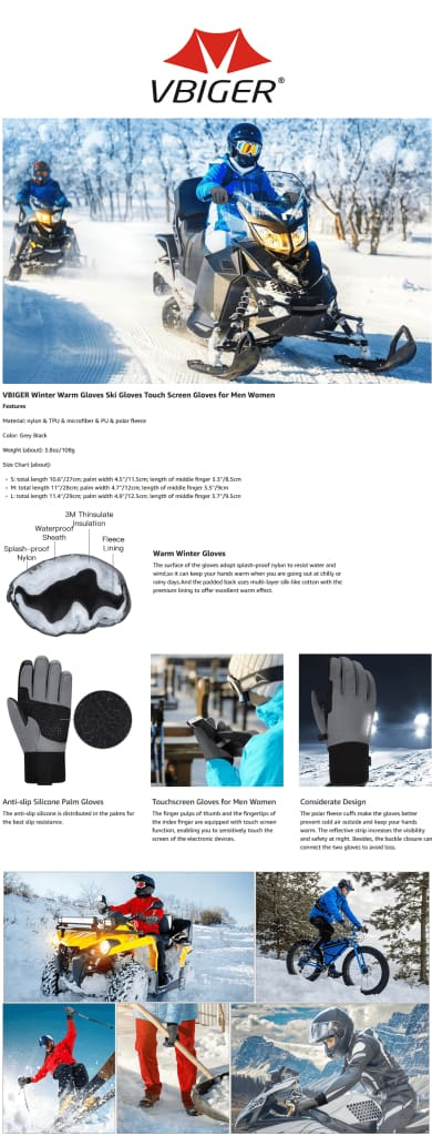 Vbiger Adult Winter Gloves Touch Screen Gloves Anti-slip Sport Gloves