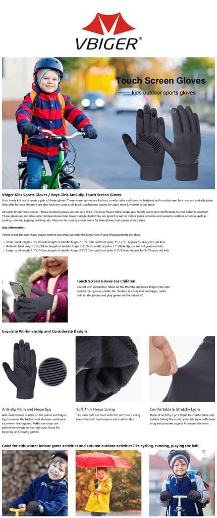 Vbiger Kids Winter Gloves Anti-skid Touch Screen Gloves  with Reflective Printing and Silicone Strip