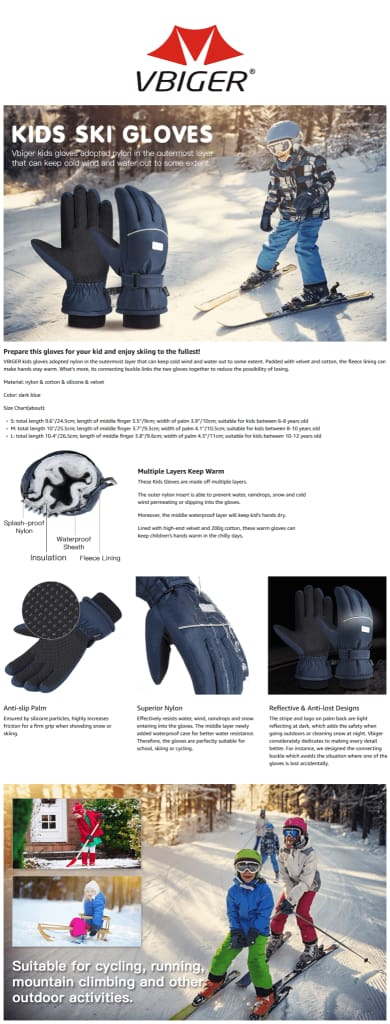 Vbiger Kids Winter Gloves Anti-slip Ski Gloves Cold Weather Gloves, Suitable for Kids between 6-8 Years Old, Dark Blue