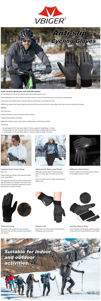 Vbiger Thickened Winter Gloves Warm Touch Screen Gloves Anti-slip Cycling Gloves
