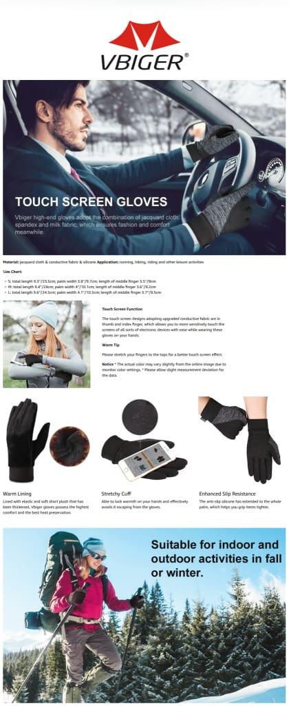 Vbiger Thickened Winter Touch Screen Gloves with Anti-slip Silicone and Stretchy Cuff, Black