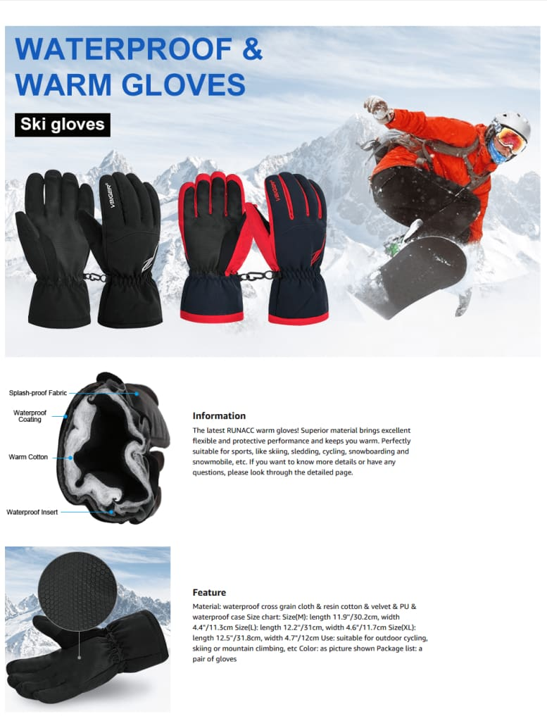 Vbiger Unisex Winter Warm Gloves Full-finger Snowboard Gloves Waterproof Sports Gloves
