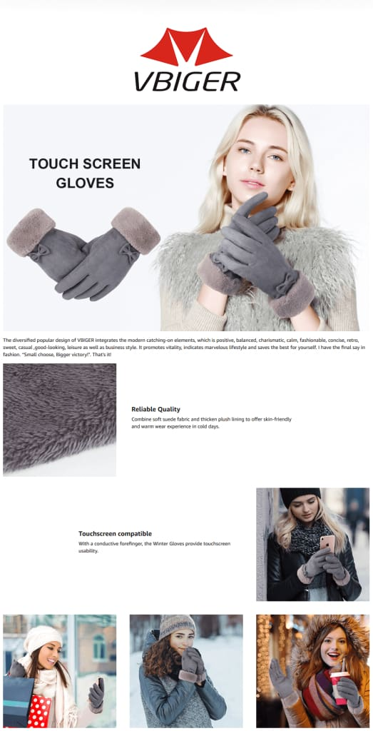 Vbiger Warm Winter Gloves Touch Screen Gloves Thickened Cold Weather Gloves
