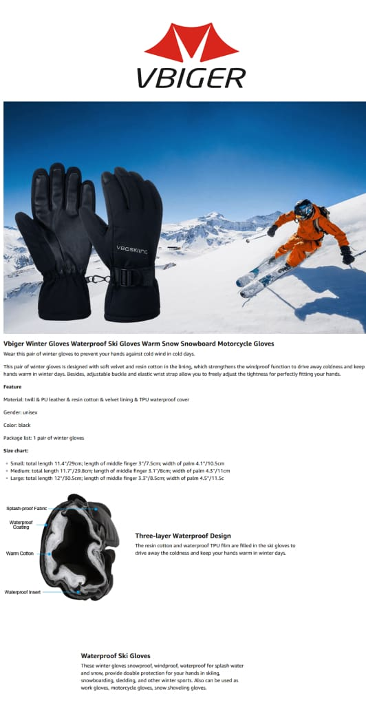 Vbiger Windproof Ski Thickened Winter Gloves Warm Splash-proof Sports Gloves