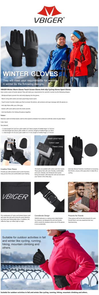 Vbiger Winter Gloves Touch Screen Gloves Anti-slip Cycling Gloves Sport Gloves