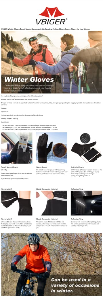 Vbiger Winter Gloves Touch Screen Gloves Cold Weather Gloves with Anti-slip Palm and Thickened Fleece Lining